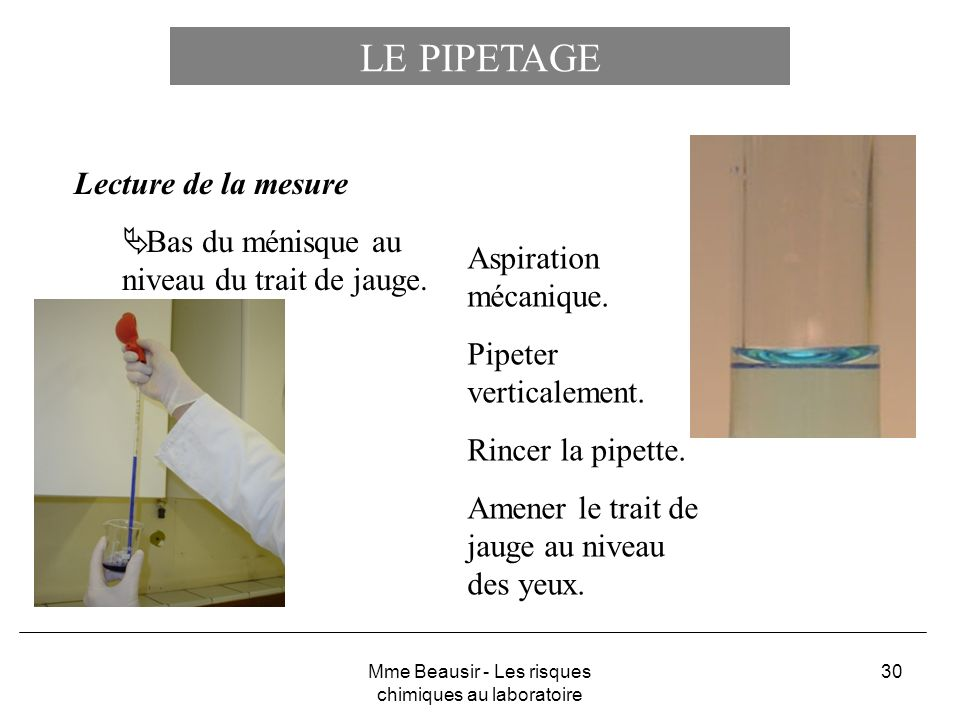30 LE PIPETAGE Lecture de la mesure Bas du ménisque au niveau du trait de jauge. Aspiration mécanique. Pipeter verticalement. Rincer la pipette. Amene