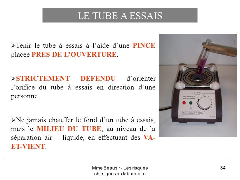 34 LE TUBE A ESSAIS Tenir le tube à essais à laide dune PINCE placée PRES DE LOUVERTURE. STRICTEMENT DEFENDU dorienter lorifice du tube à essais en di