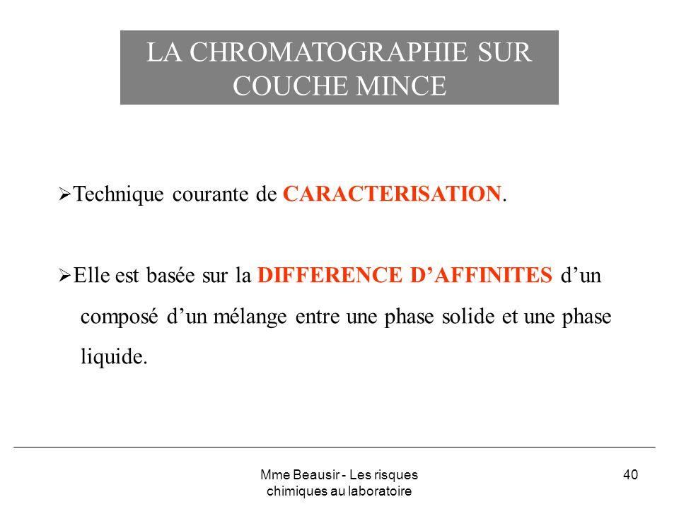 40 LA CHROMATOGRAPHIE SUR COUCHE MINCE Technique courante de CARACTERISATION. Elle est basée sur la DIFFERENCE DAFFINITES dun composé dun mélange entr