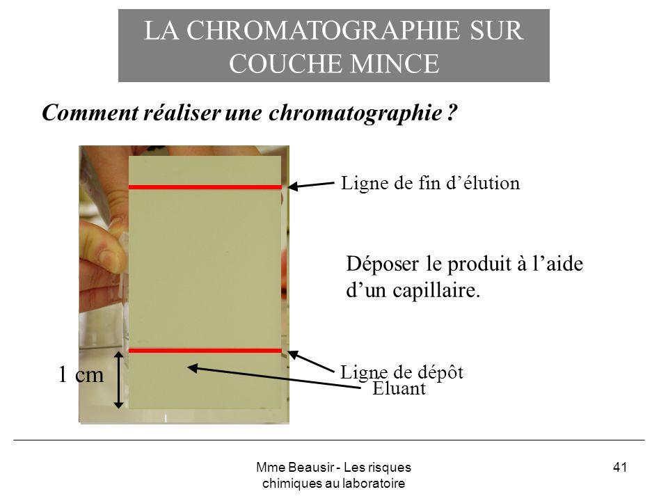 41 LA CHROMATOGRAPHIE SUR COUCHE MINCE Comment réaliser une chromatographie ? Ligne de dépôt Ligne de fin délution Déposer le produit à laide dun capi