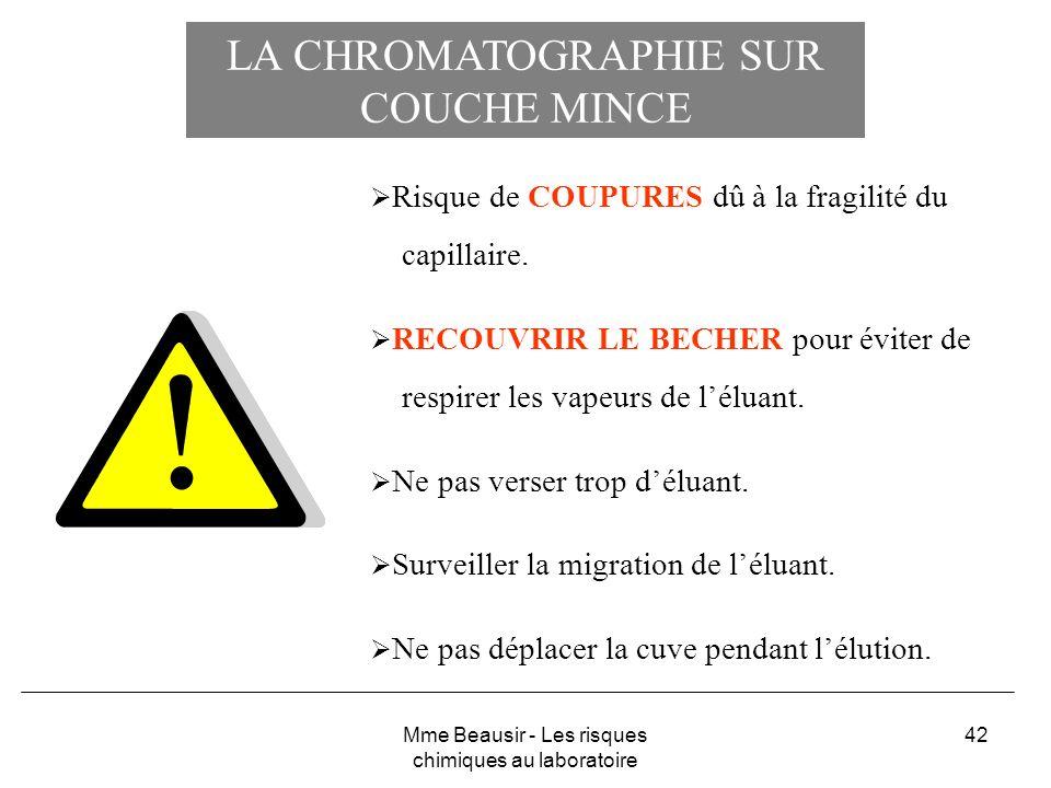 42 LA CHROMATOGRAPHIE SUR COUCHE MINCE Risque de COUPURES dû à la fragilité du capillaire. RECOUVRIR LE BECHER pour éviter de respirer les vapeurs de