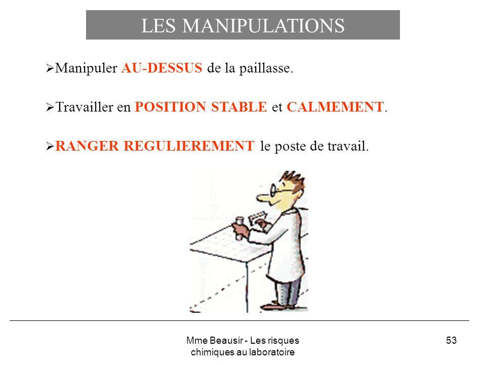 53 LES MANIPULATIONS Manipuler AU-DESSUS de la paillasse. Travailler en POSITION STABLE et CALMEMENT. RANGER REGULIEREMENT le poste de travail. Mme Be