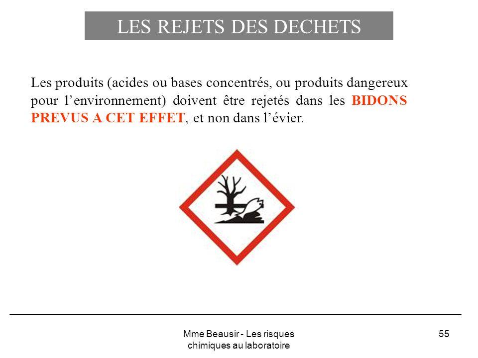 55 LES REJETS DES DECHETS Les produits (acides ou bases concentrés, ou produits dangereux pour lenvironnement) doivent être rejetés dans les BIDONS PR