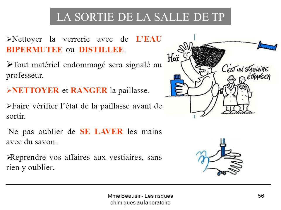 56 LA SORTIE DE LA SALLE DE TP Nettoyer la verrerie avec de LEAU BIPERMUTEE ou DISTILLEE. Tout matériel endommagé sera signalé au professeur. NETTOYER