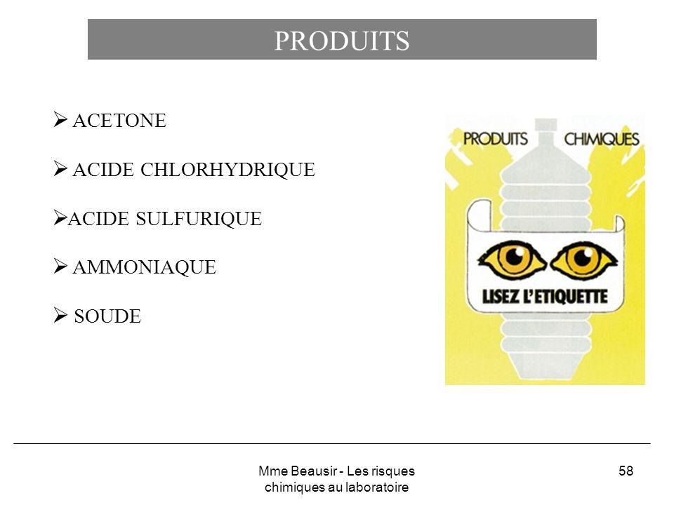 58 PRODUITS ACETONE ACIDE CHLORHYDRIQUE ACIDE SULFURIQUE AMMONIAQUE SOUDE Mme Beausir - Les risques chimiques au laboratoire