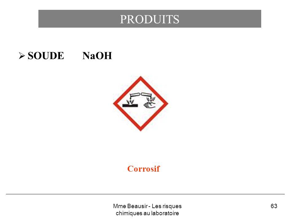 63 PRODUITS SOUDE NaOH Corrosif Mme Beausir - Les risques chimiques au laboratoire