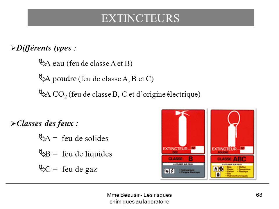 68 EXTINCTEURS Différents types : A eau (feu de classe A et B) A poudre (feu de classe A, B et C) A CO 2 (feu de classe B, C et dorigine électrique) C