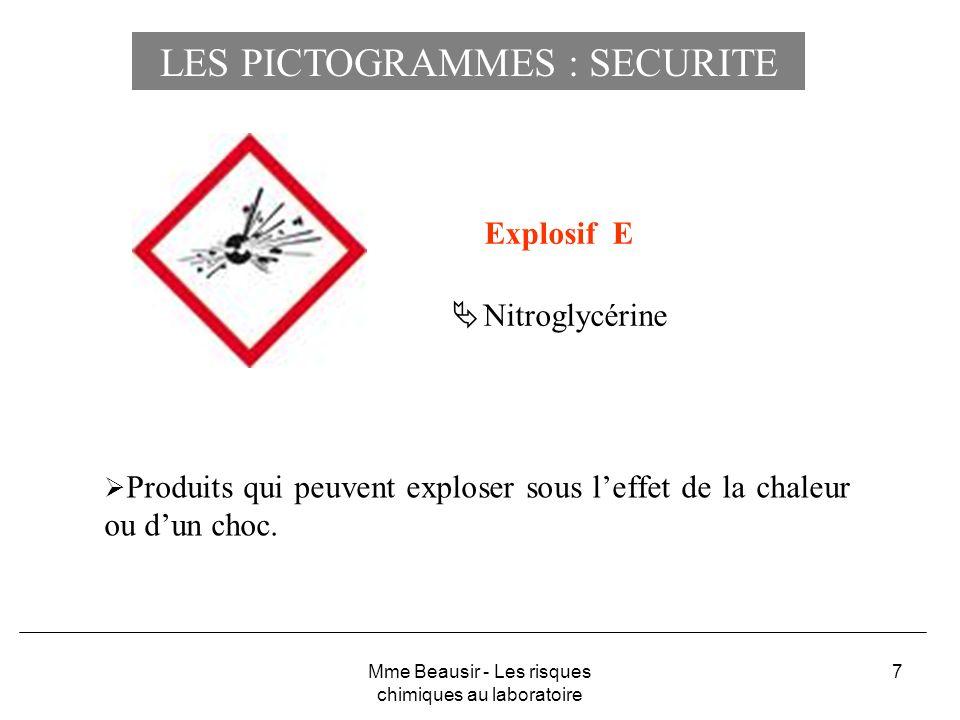 7 Explosif E Nitroglycérine Produits qui peuvent exploser sous leffet de la chaleur ou dun choc. Mme Beausir - Les risques chimiques au laboratoire