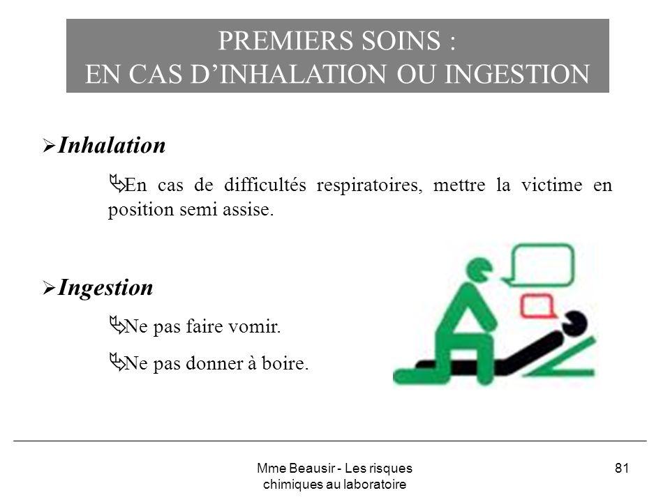 81 PREMIERS SOINS : EN CAS DINHALATION OU INGESTION Inhalation En cas de difficultés respiratoires, mettre la victime en position semi assise. Ingesti