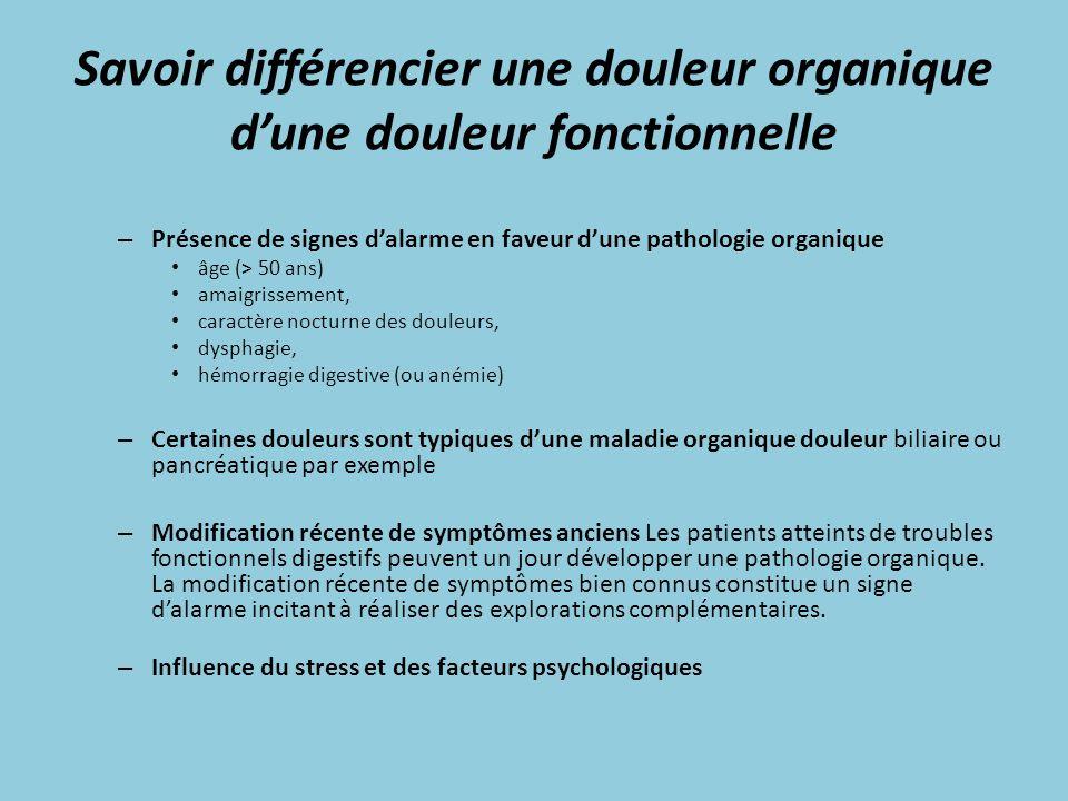 Savoir différencier une douleur organique dune douleur fonctionnelle – Présence de signes dalarme en faveur dune pathologie organique âge (> 50 ans) a