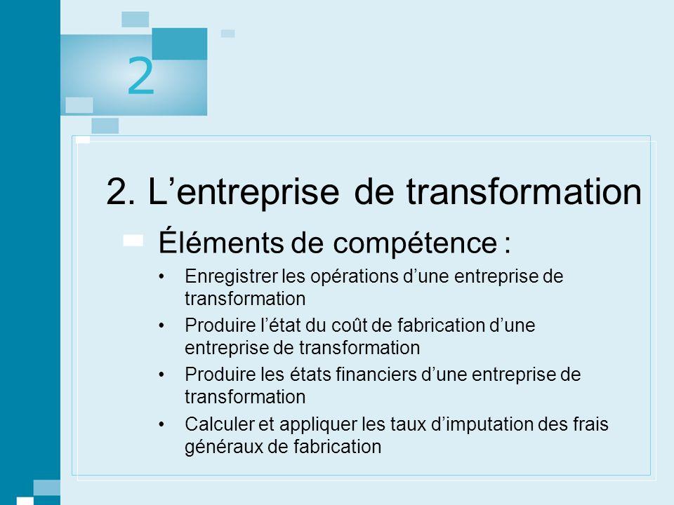 1 © gaëtan morin éditeur ltée, Prévisions, contrôle budgétaire et mesure de la performance. 2. Lentreprise de transformation Éléments de compétence :