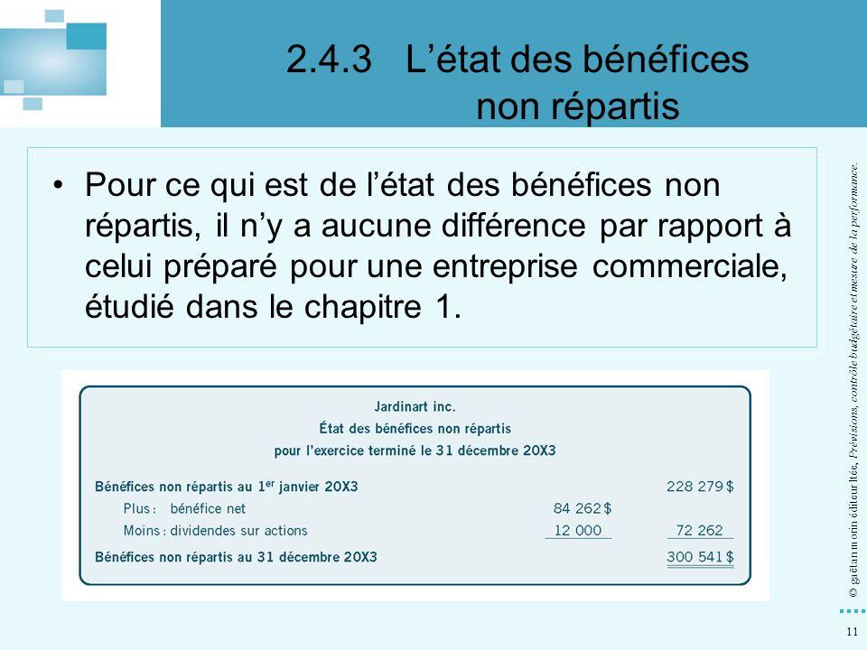 11 © gaëtan morin éditeur ltée, Prévisions, contrôle budgétaire et mesure de la performance. Pour ce qui est de létat des bénéfices non répartis, il n