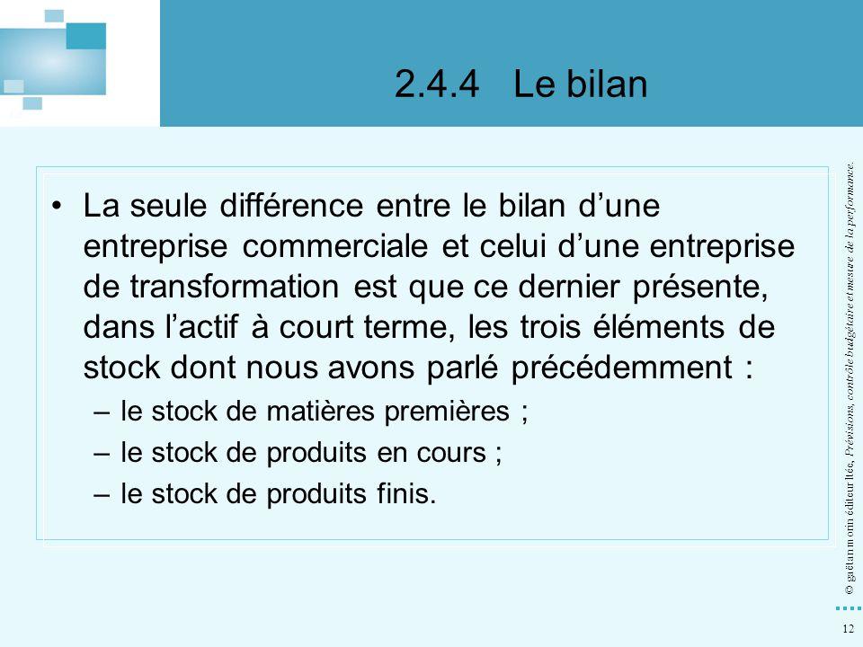 12 © gaëtan morin éditeur ltée, Prévisions, contrôle budgétaire et mesure de la performance. La seule différence entre le bilan dune entreprise commer