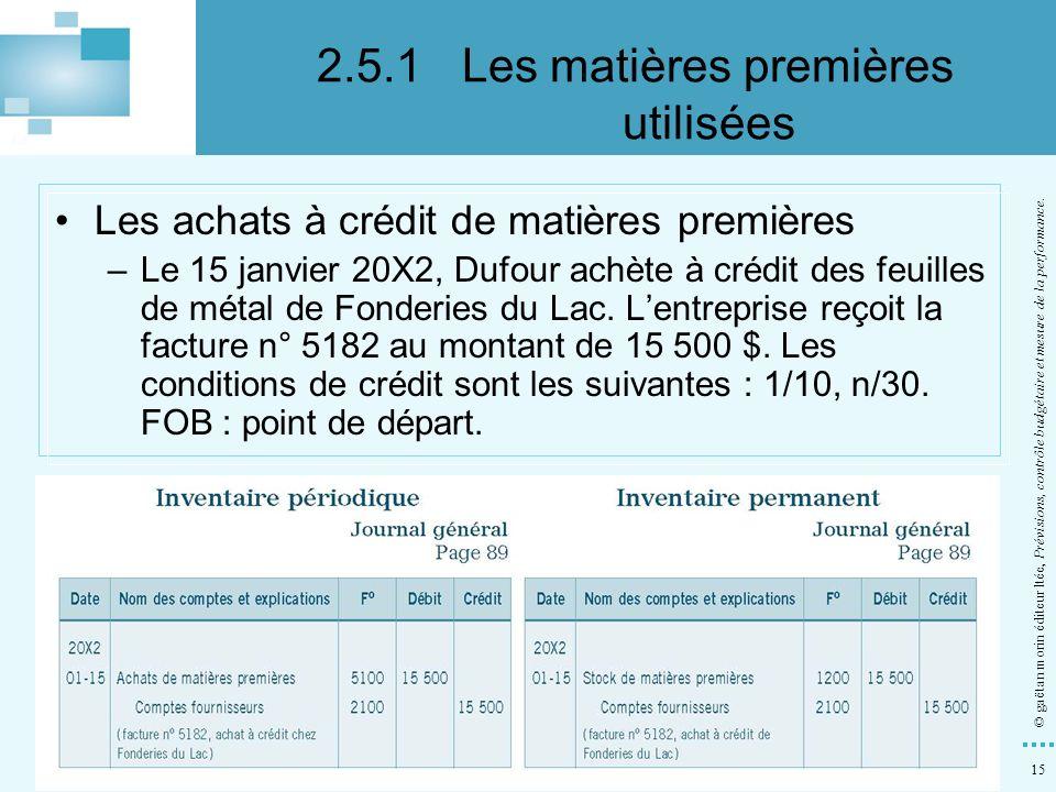 15 © gaëtan morin éditeur ltée, Prévisions, contrôle budgétaire et mesure de la performance. Les achats à crédit de matières premières –Le 15 janvier