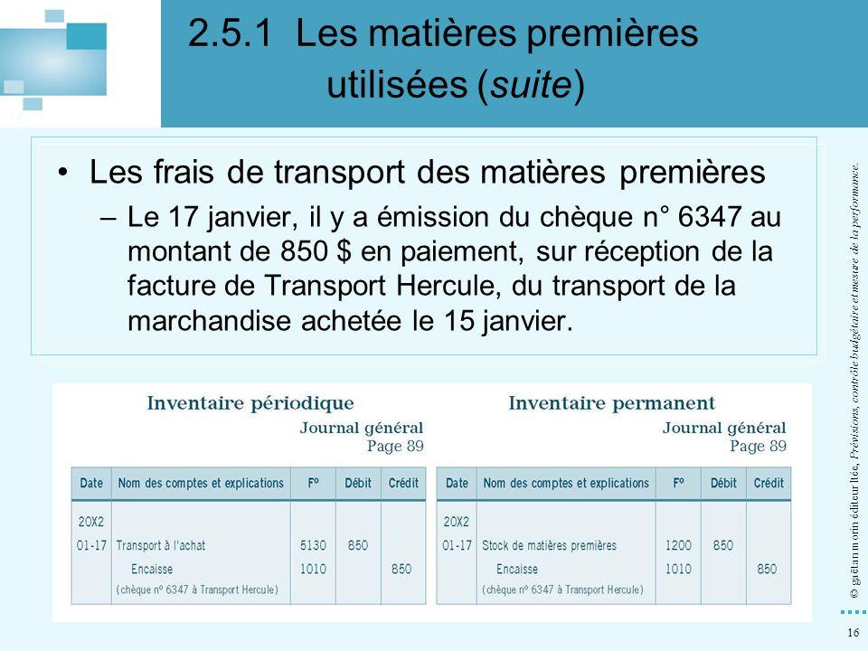 16 © gaëtan morin éditeur ltée, Prévisions, contrôle budgétaire et mesure de la performance. Les frais de transport des matières premières –Le 17 janv