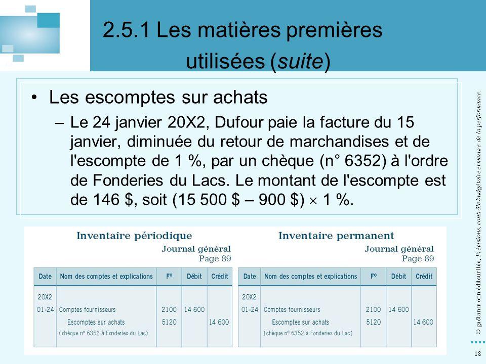 18 © gaëtan morin éditeur ltée, Prévisions, contrôle budgétaire et mesure de la performance. Les escomptes sur achats –Le 24 janvier 20X2, Dufour paie