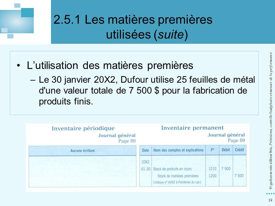 19 © gaëtan morin éditeur ltée, Prévisions, contrôle budgétaire et mesure de la performance. Lutilisation des matières premières –Le 30 janvier 20X2,