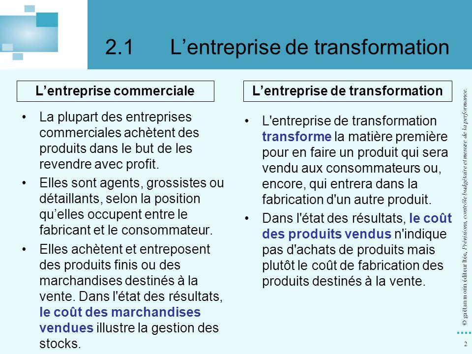 23 © gaëtan morin éditeur ltée, Prévisions, contrôle budgétaire et mesure de la performance.