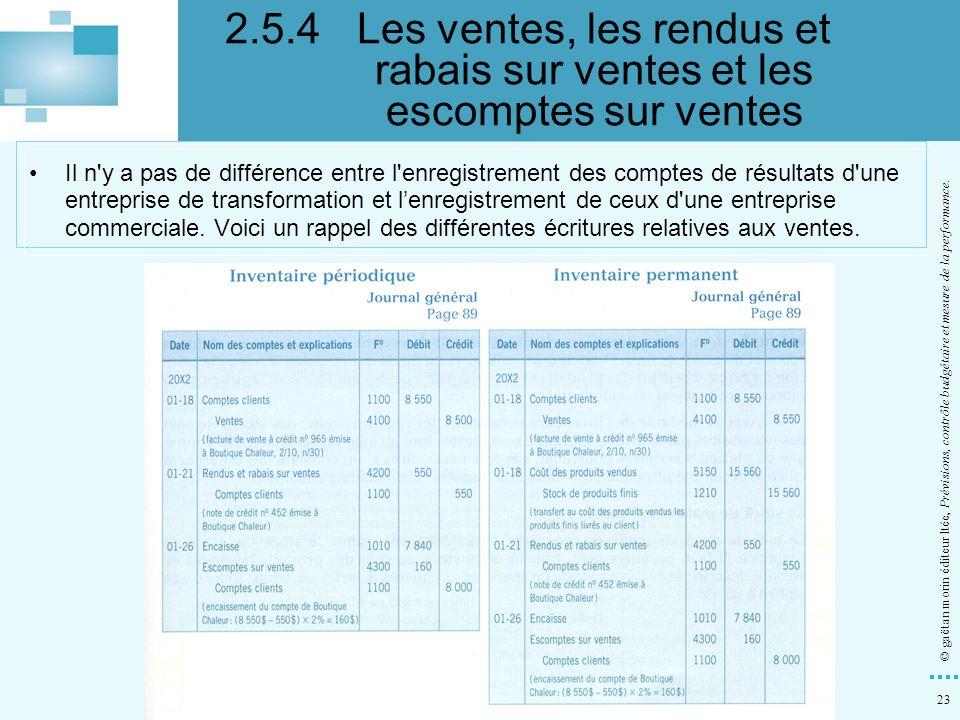 23 © gaëtan morin éditeur ltée, Prévisions, contrôle budgétaire et mesure de la performance. Il n'y a pas de différence entre l'enregistrement des com