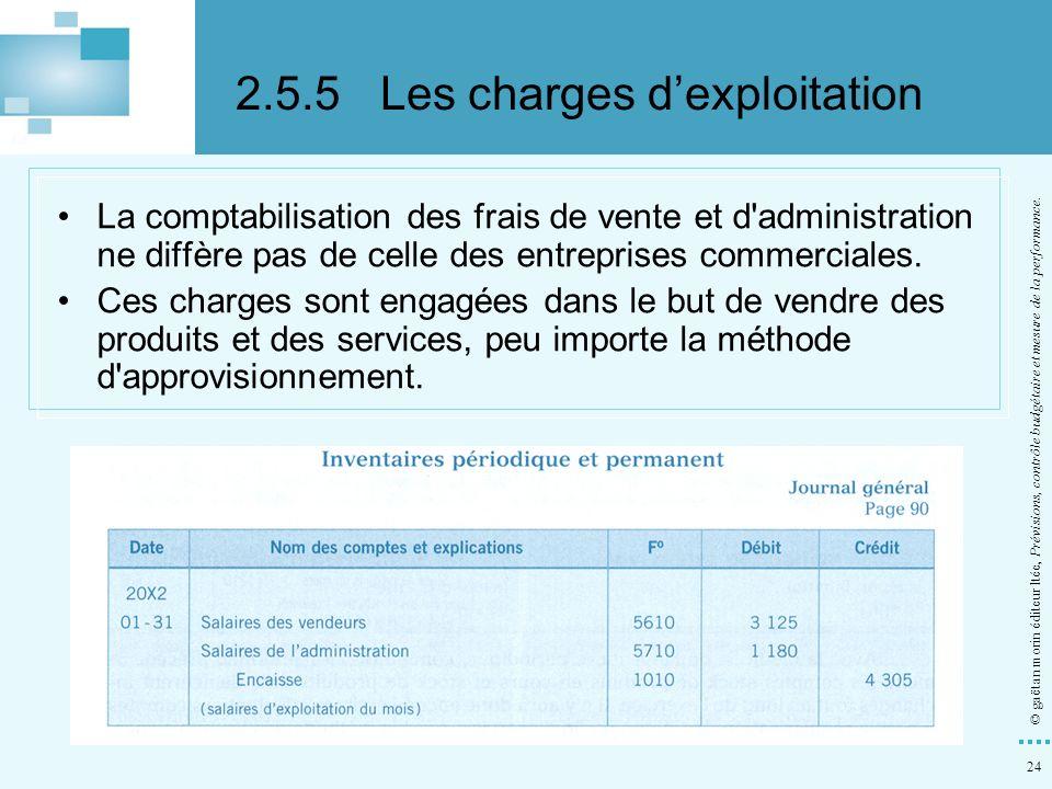 24 © gaëtan morin éditeur ltée, Prévisions, contrôle budgétaire et mesure de la performance. La comptabilisation des frais de vente et d'administratio