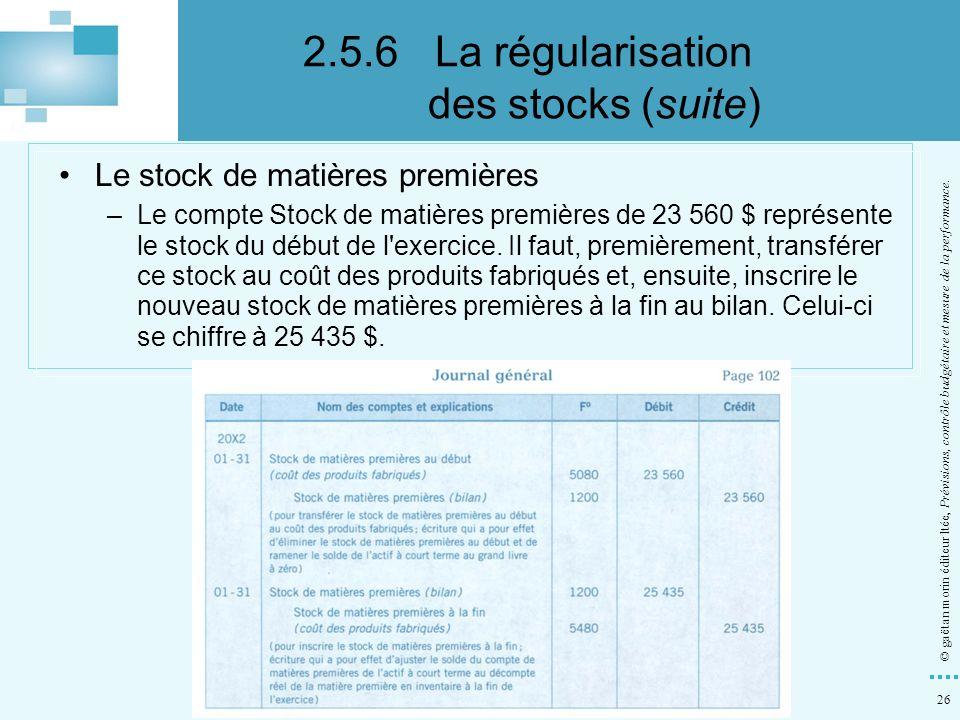26 © gaëtan morin éditeur ltée, Prévisions, contrôle budgétaire et mesure de la performance. Le stock de matières premières –Le compte Stock de matièr
