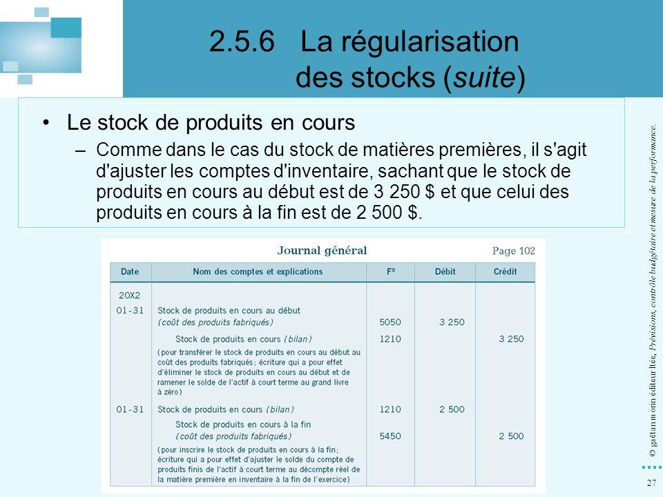 27 © gaëtan morin éditeur ltée, Prévisions, contrôle budgétaire et mesure de la performance. Le stock de produits en cours –Comme dans le cas du stock