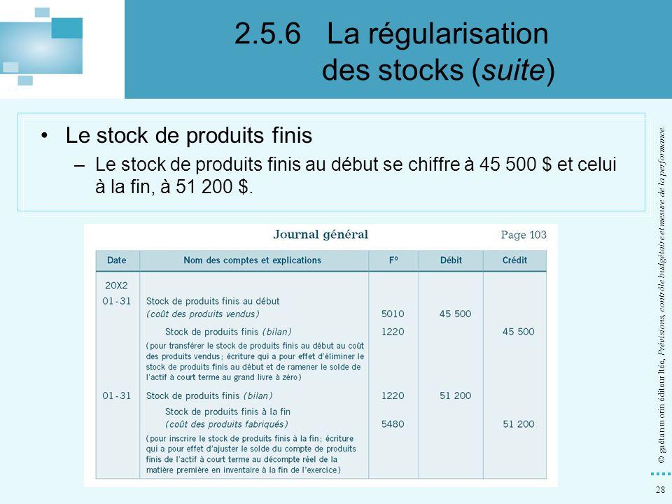 28 © gaëtan morin éditeur ltée, Prévisions, contrôle budgétaire et mesure de la performance. Le stock de produits finis –Le stock de produits finis au