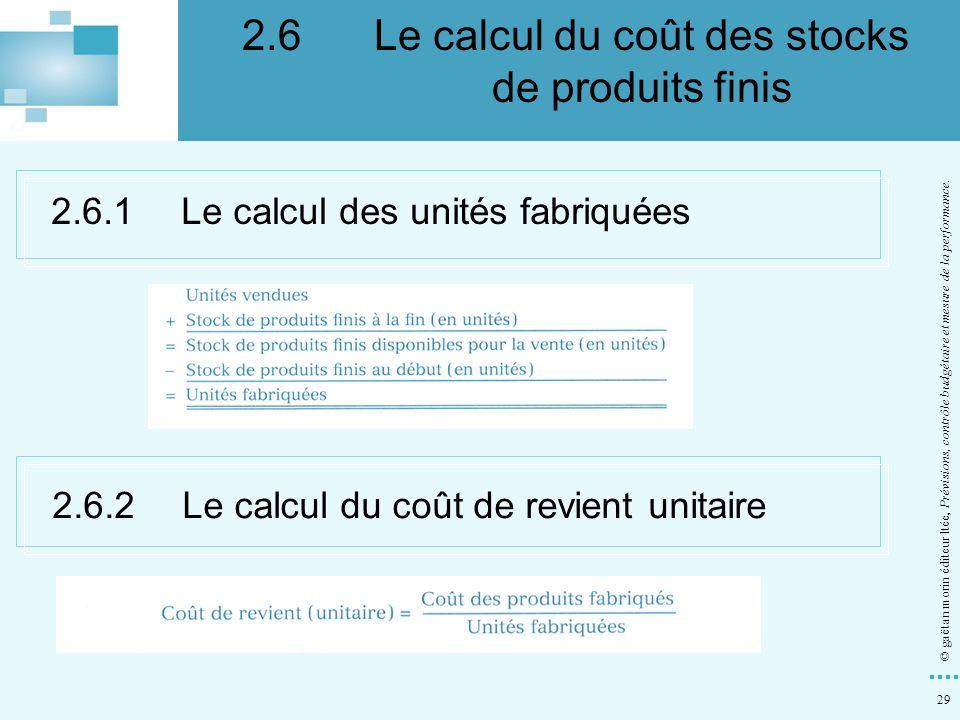29 © gaëtan morin éditeur ltée, Prévisions, contrôle budgétaire et mesure de la performance. 2.6.1Le calcul des unités fabriquées 2.6.2Le calcul du co