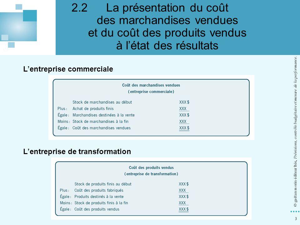 3 © gaëtan morin éditeur ltée, Prévisions, contrôle budgétaire et mesure de la performance. Lentreprise commerciale Lentreprise de transformation 2.2L