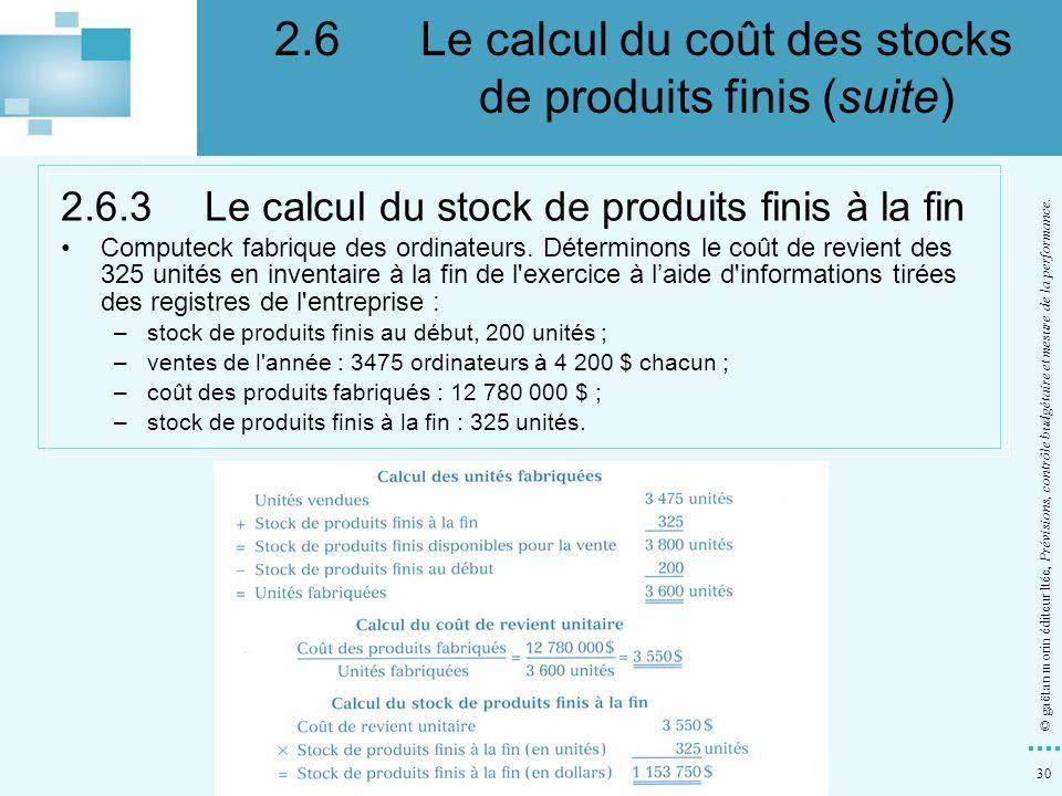 30 © gaëtan morin éditeur ltée, Prévisions, contrôle budgétaire et mesure de la performance. 2.6.3Le calcul du stock de produits finis à la fin Comput