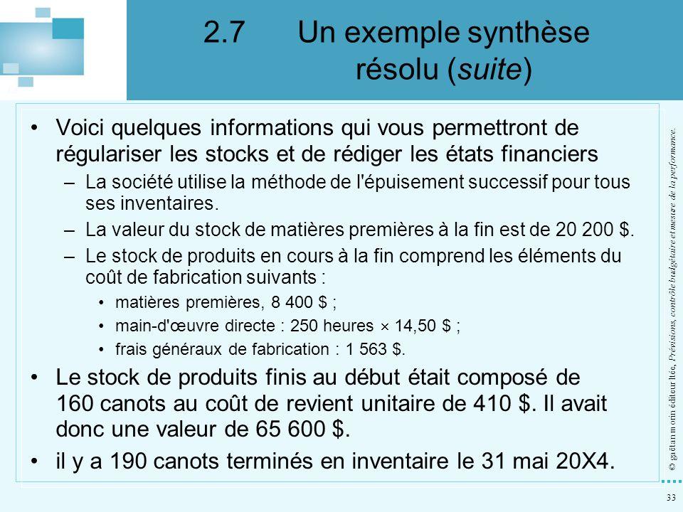 33 © gaëtan morin éditeur ltée, Prévisions, contrôle budgétaire et mesure de la performance. Voici quelques informations qui vous permettront de régul