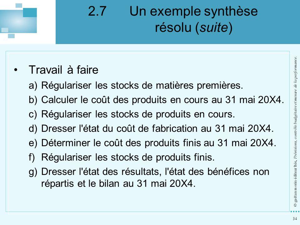 34 © gaëtan morin éditeur ltée, Prévisions, contrôle budgétaire et mesure de la performance. Travail à faire a)Régulariser les stocks de matières prem