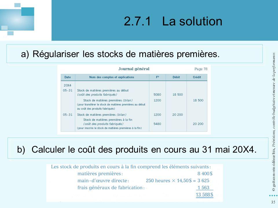 35 © gaëtan morin éditeur ltée, Prévisions, contrôle budgétaire et mesure de la performance. a)Régulariser les stocks de matières premières. b)Calcule