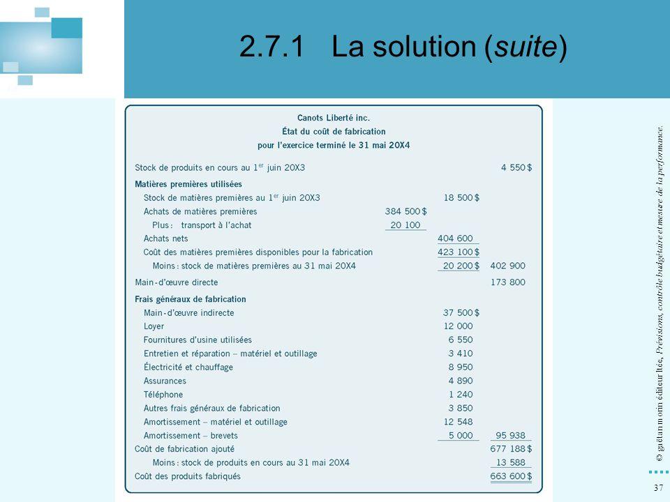 37 © gaëtan morin éditeur ltée, Prévisions, contrôle budgétaire et mesure de la performance. d)Dresser l'état du coût de fabrication au 31 mai 20X4. 2