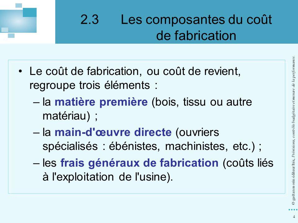 45 © gaëtan morin éditeur ltée, Prévisions, contrôle budgétaire et mesure de la performance.