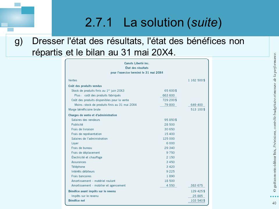 40 © gaëtan morin éditeur ltée, Prévisions, contrôle budgétaire et mesure de la performance. g)Dresser l'état des résultats, l'état des bénéfices non