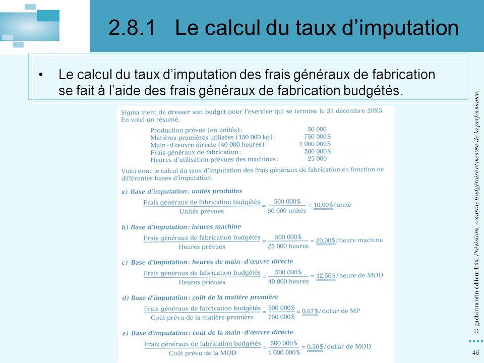 46 © gaëtan morin éditeur ltée, Prévisions, contrôle budgétaire et mesure de la performance. Le calcul du taux dimputation des frais généraux de fabri