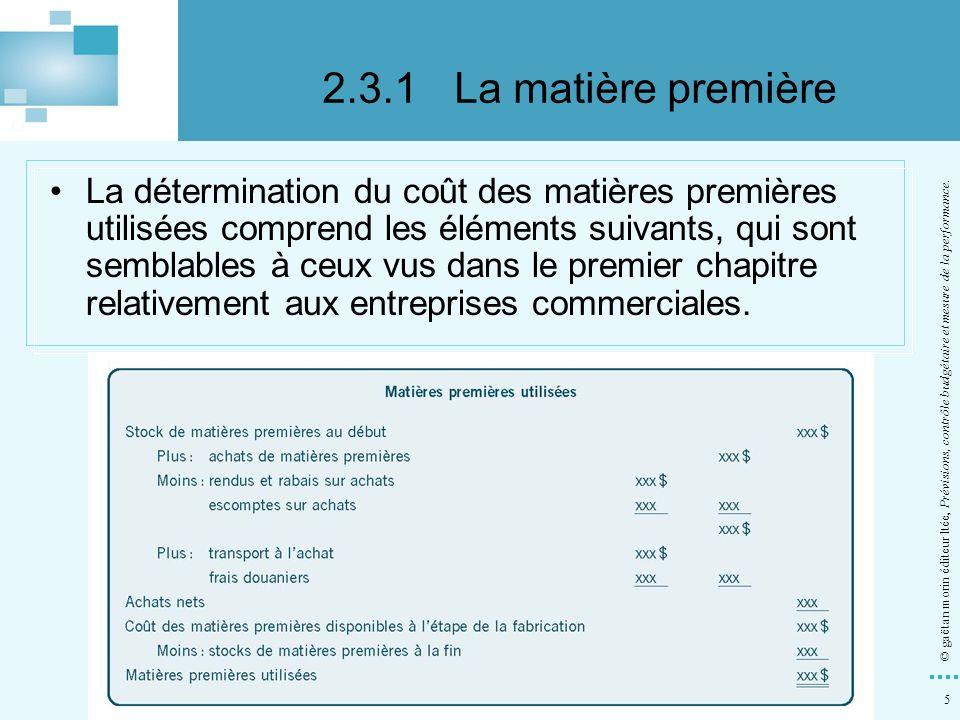 5 © gaëtan morin éditeur ltée, Prévisions, contrôle budgétaire et mesure de la performance. La détermination du coût des matières premières utilisées