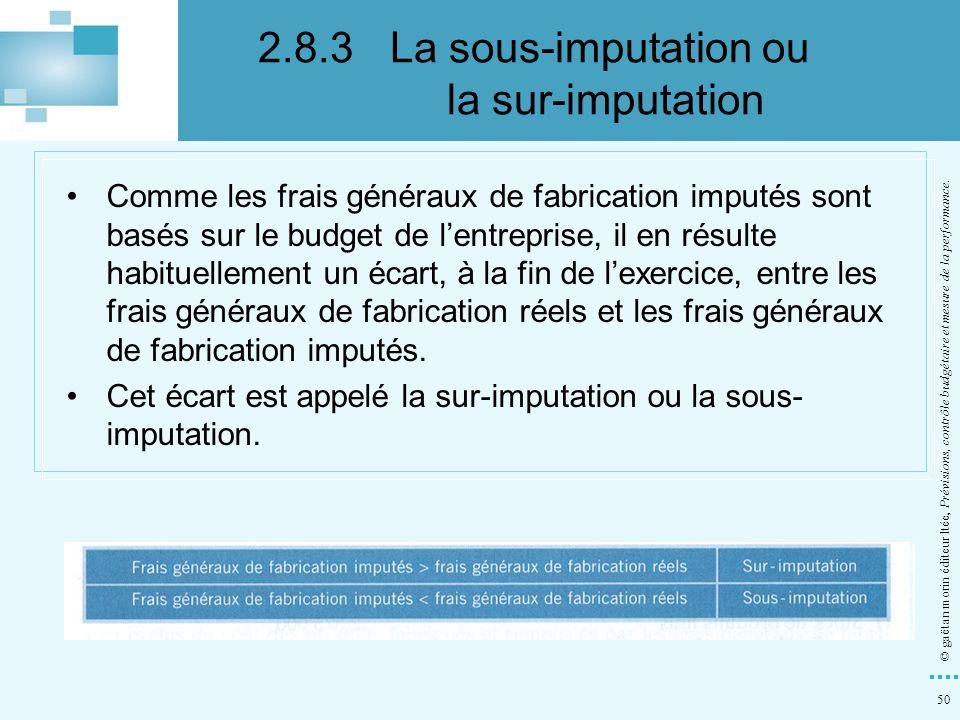 50 © gaëtan morin éditeur ltée, Prévisions, contrôle budgétaire et mesure de la performance. Comme les frais généraux de fabrication imputés sont basé