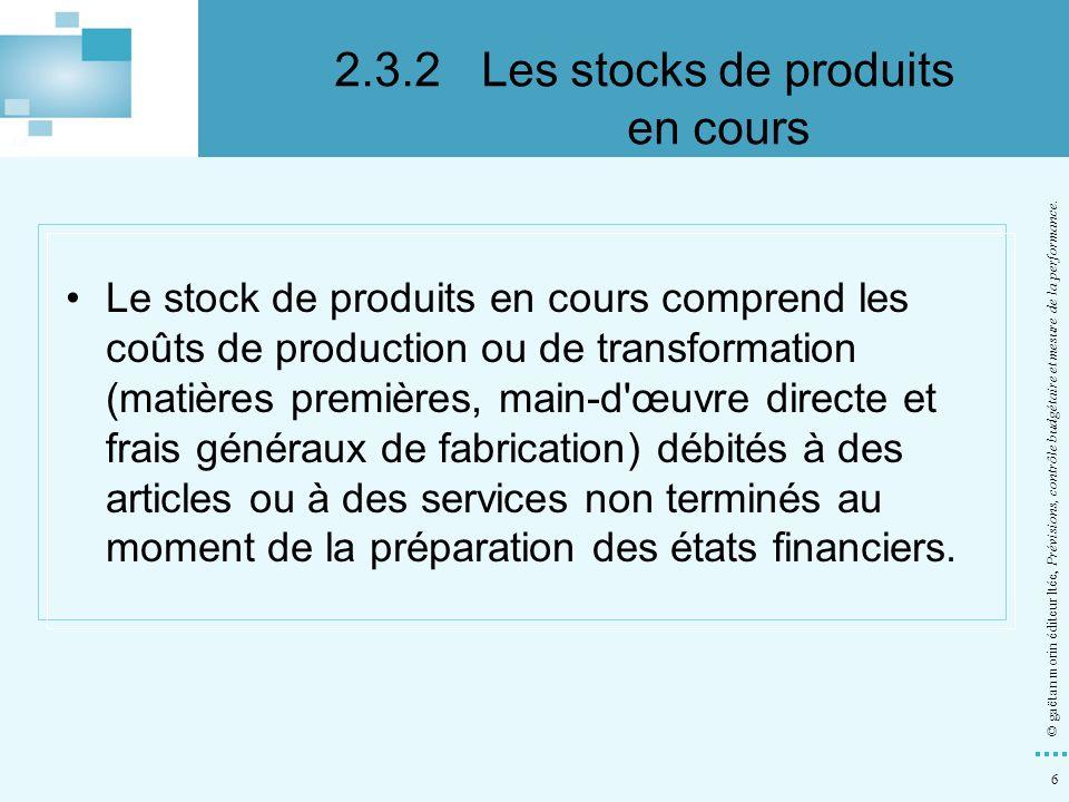 6 © gaëtan morin éditeur ltée, Prévisions, contrôle budgétaire et mesure de la performance. Le stock de produits en cours comprend les coûts de produc