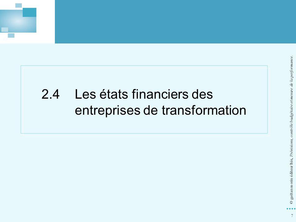 7 © gaëtan morin éditeur ltée, Prévisions, contrôle budgétaire et mesure de la performance. 2.4Les états financiers des entreprises de transformation