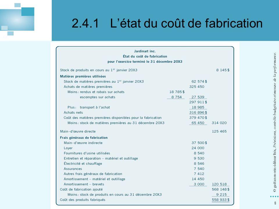 8 © gaëtan morin éditeur ltée, Prévisions, contrôle budgétaire et mesure de la performance. 2.4.1Létat du coût de fabrication