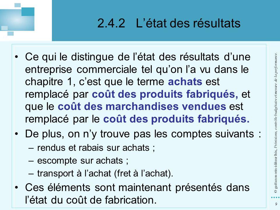 9 © gaëtan morin éditeur ltée, Prévisions, contrôle budgétaire et mesure de la performance. Ce qui le distingue de létat des résultats dune entreprise