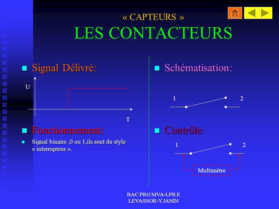 BAC PRO MVA-LPR E LEVASSOR-Y.JANIN « CAPTEURS » LES CONTACTEURS Signal Délivré: Signal Délivré: Fonctionnement: Fonctionnement: Signal binaire,0 ou 1,ils sont du style « interrupteur ».