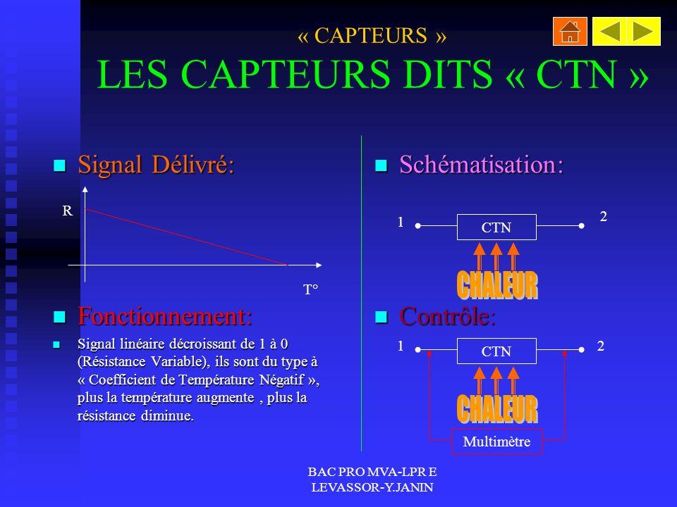 BAC PRO MVA-LPR E LEVASSOR-Y.JANIN « CAPTEURS » LES CAPTEURS DITS « CTN » Signal Délivré: Signal Délivré: Fonctionnement: Fonctionnement: Signal linéaire décroissant de 1 à 0 (Résistance Variable), ils sont du type à « Coefficient de Température Négatif », plus la température augmente, plus la résistance diminue.