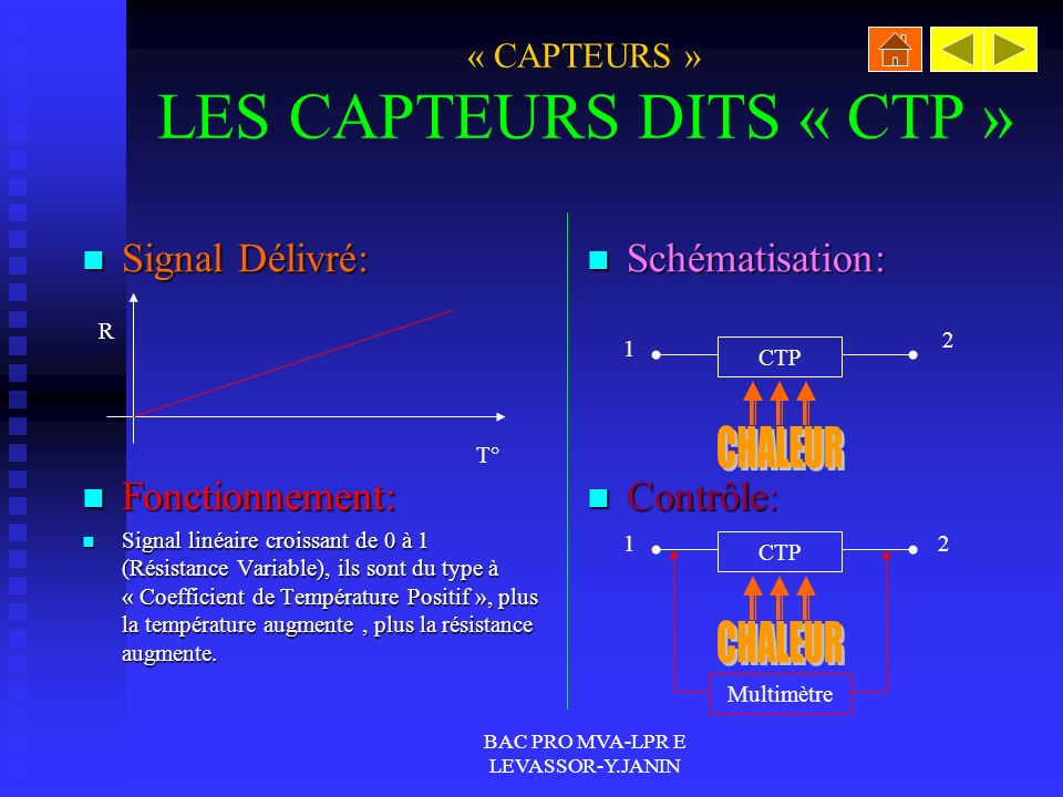BAC PRO MVA-LPR E LEVASSOR-Y.JANIN « CAPTEURS » LES CAPTEURS DITS « CTP » Signal Délivré: Signal Délivré: Fonctionnement: Fonctionnement: Signal linéaire croissant de 0 à 1 (Résistance Variable), ils sont du type à « Coefficient de Température Positif », plus la température augmente, plus la résistance augmente.