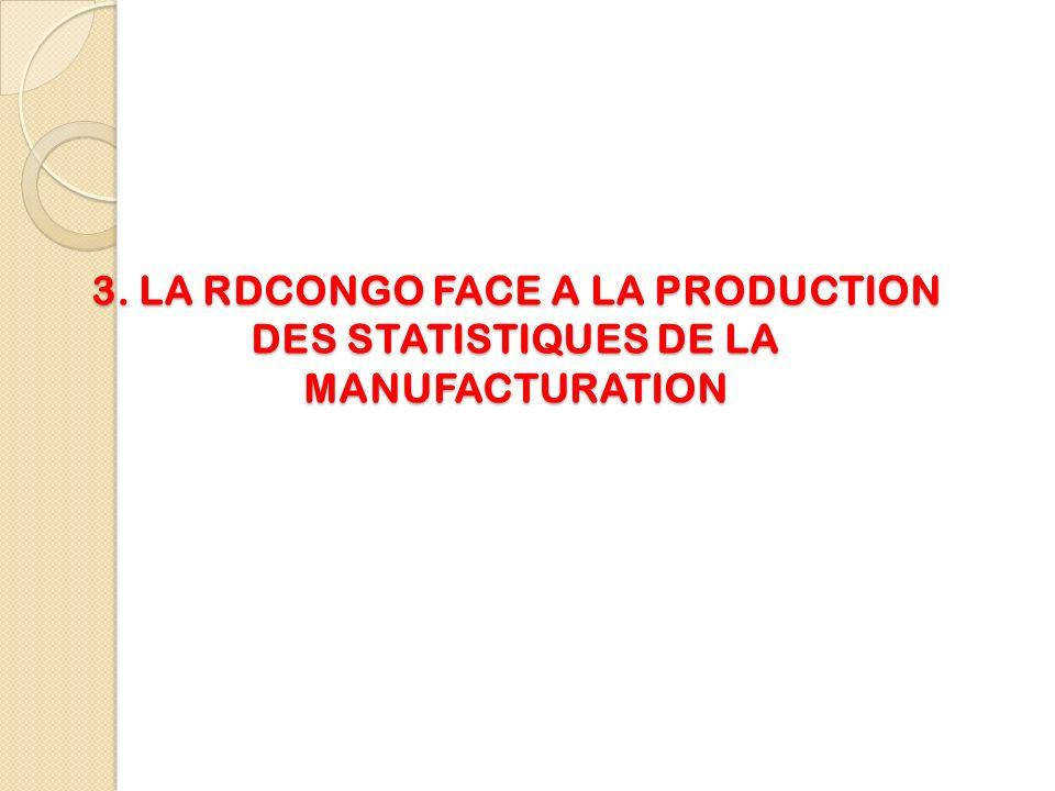 4.Rôle de lINS dans la production des statistiques de la manufacturation lInstitut National de la Statistique est la seule institution créée par lEtat Congolais pour centraliser toutes les statistiques notamment celles de la manufacturation.