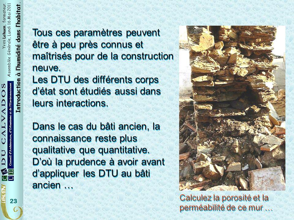 Yves Lehuen, formateur. Assemblée Générale, Lundi 16 Mai 2011 Introduction à lhumidité dans lhabitat. 23 Tous ces paramètres peuvent être à peu près c