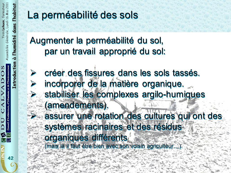 Yves Lehuen, formateur. Assemblée Générale, Lundi 16 Mai 2011 Introduction à lhumidité dans lhabitat. 42 La perméabilité des sols Augmenter la perméab