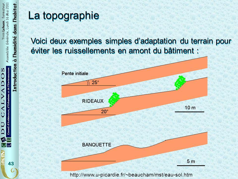 Yves Lehuen, formateur. Assemblée Générale, Lundi 16 Mai 2011 Introduction à lhumidité dans lhabitat. 43 La topographie Voici deux exemples simples da